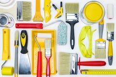 Ferramentas diferentes da pintura para a renovação da casa Imagem de Stock Royalty Free