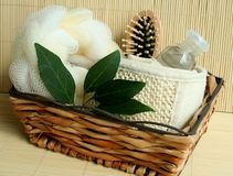 Ferramentas do banho na cesta de madeira Foto de Stock