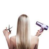Ferramentas do cabelo louro e do cabeleireiro fotografia de stock royalty free