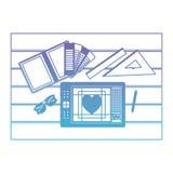 Ferramentas do caderno e da régua e digitador da tabuleta sobre a tabela na vista superior no roxo degradado ao contorno azul ilustração do vetor