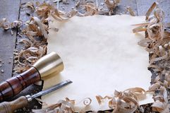 Ferramentas do carpinteiro com placa Imagem de Stock