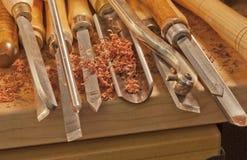 Ferramentas do comércio--Woodturning Fotografia de Stock