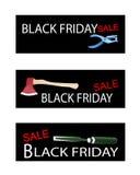 Ferramentas do ofício em três bandeiras de Black Friday ilustração royalty free
