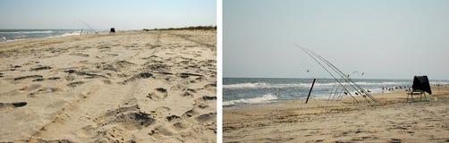Ferramentas do pescador na praia Imagem de Stock Royalty Free