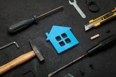 Ferramentas do serviço da casa, construção do trabalhador da mão foto de stock royalty free
