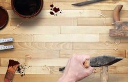 Ferramentas do Woodworking com espaço livre para o texto foto de stock royalty free