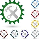 Ferramentas e engrenagem, ferramentas e logotipo do serralheiro ilustração stock