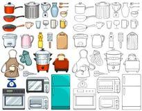 Ferramentas e equipamentos da cozinha ilustração royalty free