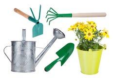 Ferramentas e ervas exteriores de jardinagem Imagens de Stock Royalty Free