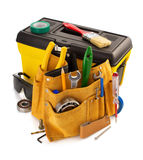 Ferramentas e instrumentos na correia isolada no branco Fotos de Stock Royalty Free