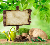 Ferramentas e plantas exteriores de jardinagem Fotografia de Stock