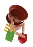 ferramentas e vasos de jardim Fotos de Stock Royalty Free