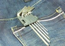 Ferramentas em um bolso de calças Fotografia de Stock