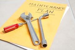 Ferramentas em um dobrador do plano de manutenção Fotografia de Stock