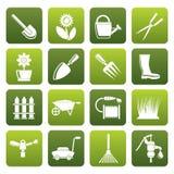 Ferramentas lisas do jardim e de jardinagem e ícones dos objetos ilustração royalty free