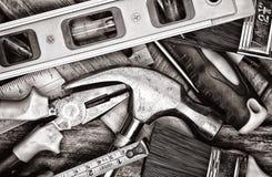 Ferramentas manuais em preto e branco Foto de Stock Royalty Free