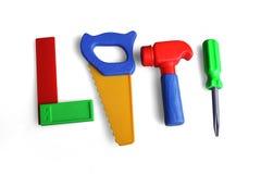 Ferramentas, martelo, serra, chave de fenda, ângulo, plástico Fotos de Stock Royalty Free