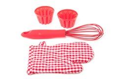Ferramentas modernas vermelhas da cozinha Fotografia de Stock Royalty Free