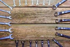 Ferramentas no fundo de madeira Fotografia de Stock
