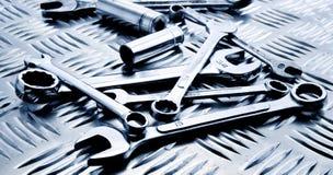 ferramentas no painel de aço Foto de Stock