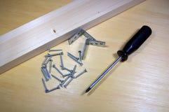 Ferramentas para a carpintaria no fundo de madeira Imagens de Stock