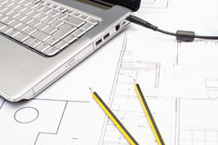 Ferramentas para desenhos de construção Fotos de Stock