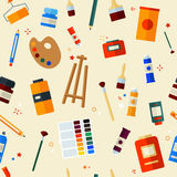 Ferramentas para a faculdade criadora e o teste padrão sem emenda de pintura Foto de Stock