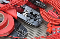 Ferramentas para frisadores e acessórios dos eletricistas foto de stock royalty free