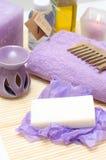 Ferramentas para o cuidado do corpo no salão de beleza dos termas Imagem de Stock