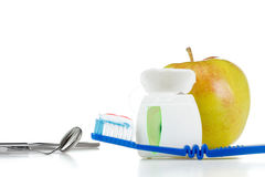 Ferramentas para o cuidado e o tratamento dos dentes, conceito Foto de Stock Royalty Free