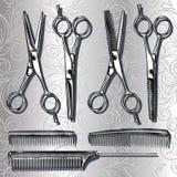 Ferramentas para tesouras e pentes do cabeleireiro ilustração do vetor
