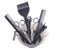 Ferramentas profissionais da coloração de cabelo - imagem conservada em estoque Foto de Stock