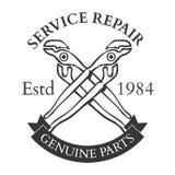 Ferramentas, serviço de reparações, etiquetas e projeto da mão da carpintaria do vintage Foto de Stock
