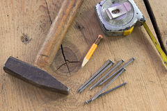 Ferramentas usadas velhas da carpintaria Imagens de Stock