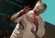 Ferran Adria 013. Ferran Adria gestures during a showcooking show in the island of Mallorca, Spain. Adria is a Spanish chef born in Barcelona he is considered royalty free stock photos
