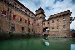 Ferrara Emilia-Romagna, Italien - Castello slott Estense royaltyfria foton