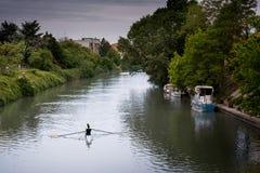 Ferrara, emilia, Włochy - Po Volano rzeka Zdjęcia Stock