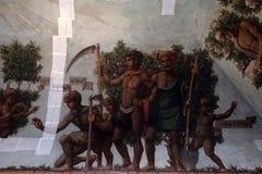 FERRARA, ITALIË - SEPTEMBER 29 2018 - Middeleeuwse schilderijen in Estense-Kasteel in Ferrara Italië onder restauratie stock foto's