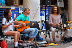 Artists perform in the street. Buskers Festival. Zap. Ferrara, Italia - August 23, 2017: The Ferrara Buskers Festival is dedicated to the art of the street Royalty Free Stock Photography