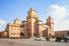 Castello Estense - medieval castle in the center of Ferrara, Ita Royalty Free Stock Images