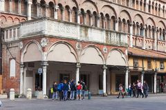 Tourists are walking in the center of Ferrara, Italy Stock Photos