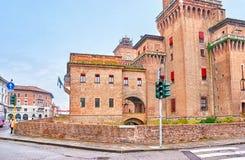 Castello Estense in Ferrara, Italy. FERRARA, ITALY - APRIL 30, 2013: The huge Castello Estense is the residence of family of Este, that rules the region in stock image