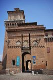 Ferrara,a view of the city`s castle. Ferrara,Italy In Ferrara in 1385, a dangerous revolt convinced Niccolò II d`Este of the need to erect a powerful defense stock images