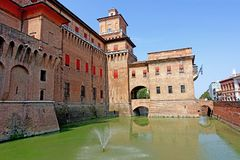 Ferrara,a view of the city`s castle. Ferrara,Italy In Ferrara in 1385, a dangerous revolt convinced Niccolò II d`Este of the need to erect a powerful defense royalty free stock photography