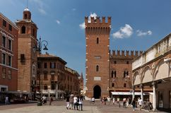 People on Piazza Trento in Ferrara, Italy Royalty Free Stock Image