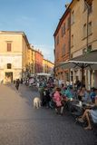 Piazza Trento Trieste in Ferrara, Italy.Square in the historic center of Ferrara, a meeting place of citizenship and tourists. Ferrara, Italy - June 10, 2017 stock photo