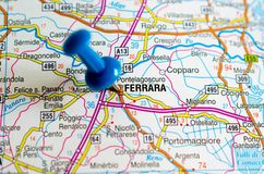 Ferrara on map. Close up shot of Ferrara on map with blue push pin Royalty Free Stock Image