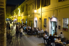 Ferrara, nightclubs in the historic center. Ferrara, buskers festival, night clubs in the old town Royalty Free Stock Photo