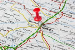 Ferrara pinned on a map of Italy royalty free stock images