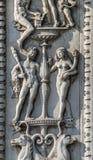Ferrara prydnadar på en historisk slott Arkivbilder